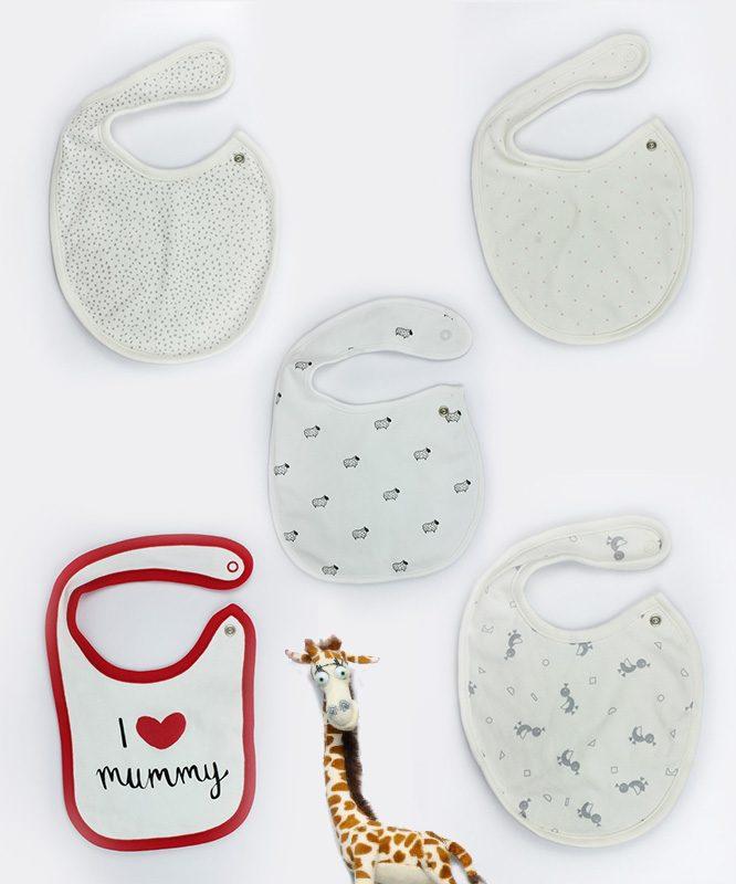 Assorted Pack of 5 Baby Bibs