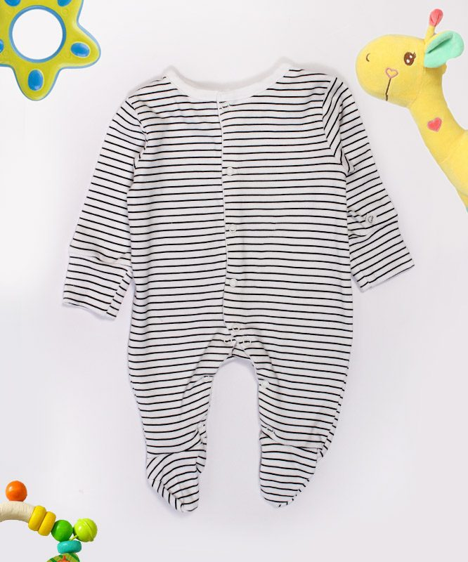 Black And White Strips Baby Jumpsuit