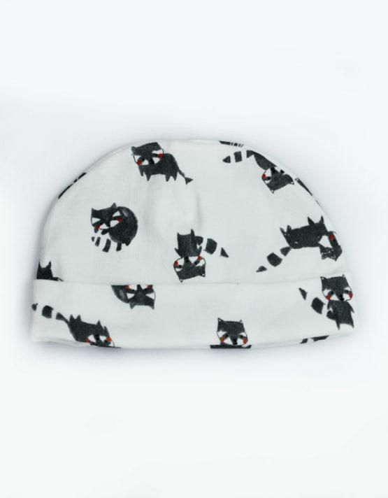 black kitten print baby cap