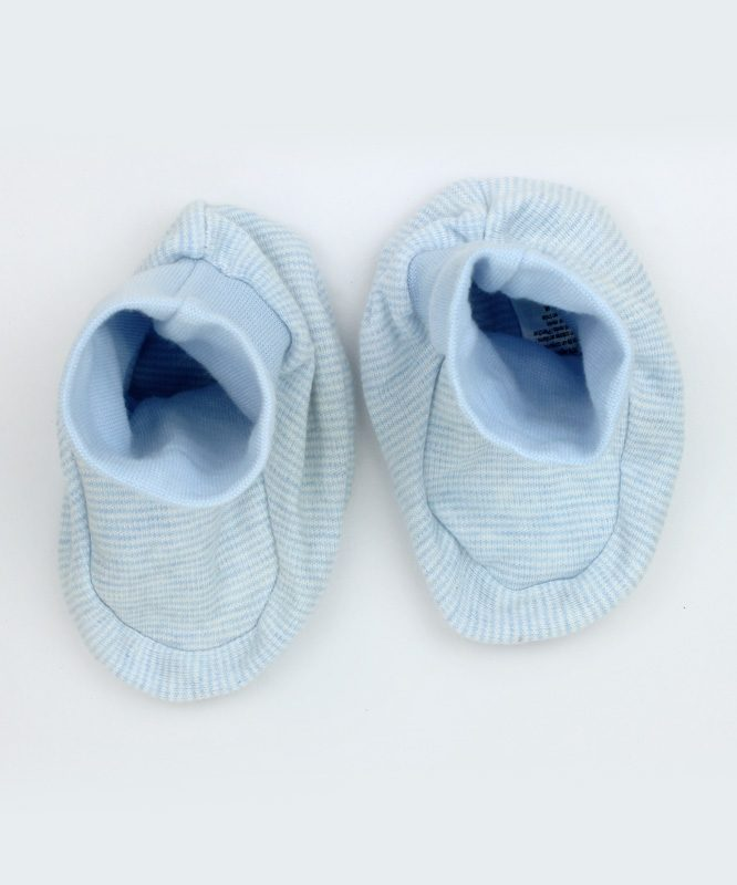 Blue and White Stripes Baby Booties