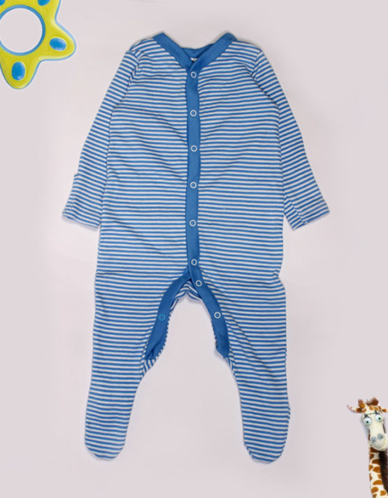 blue and white stripes jumpsuit