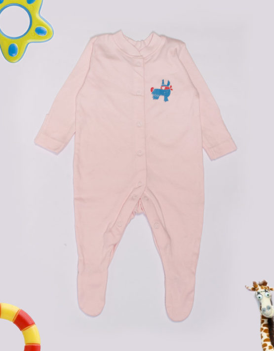 Blue doggy embroidery on Pink Jumpsuite