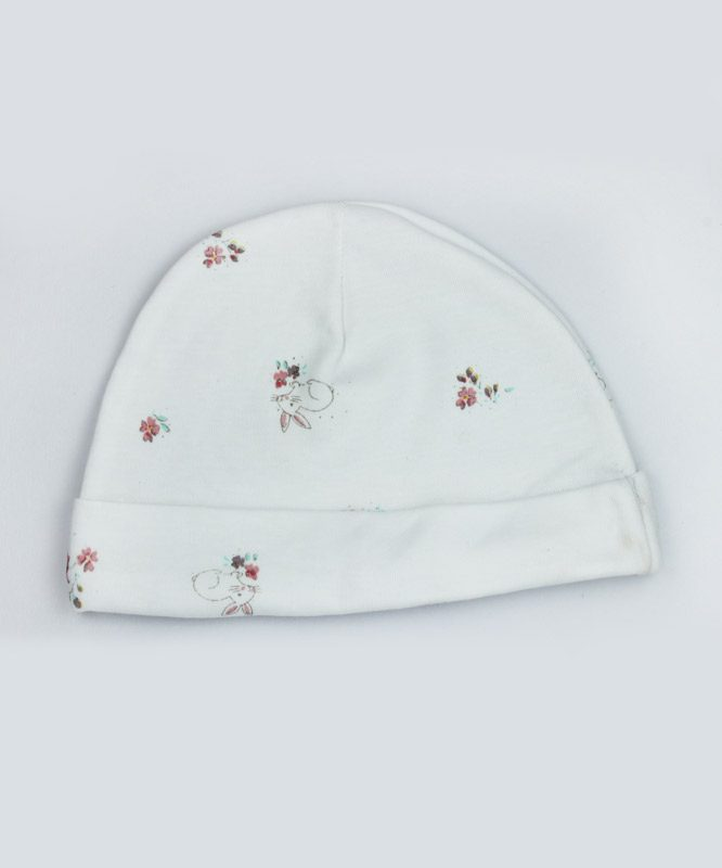 bunny and floral print white cap