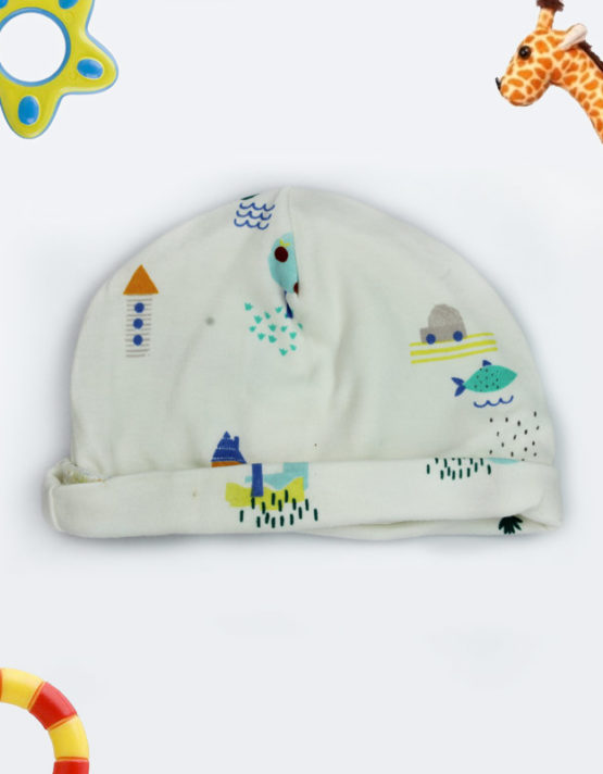 colorful printed white baby cap