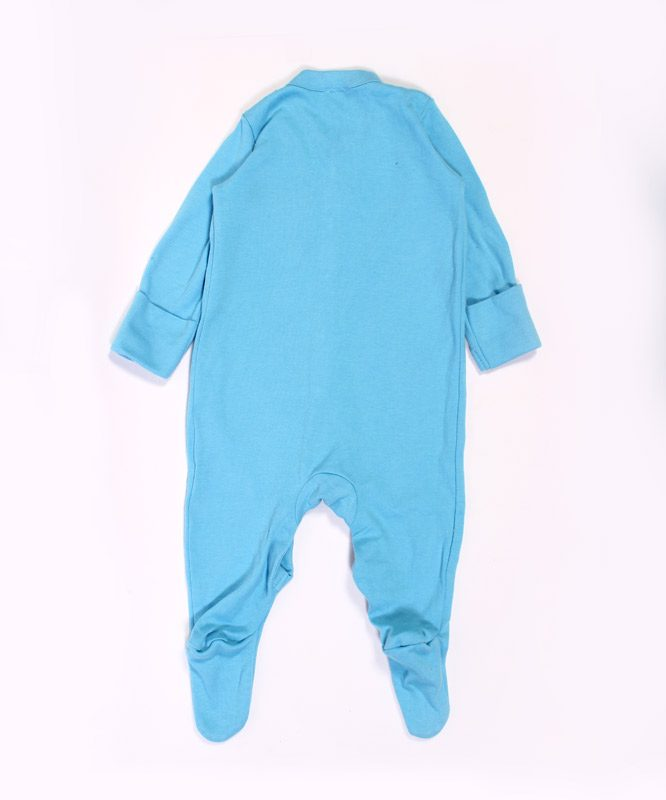 Elephant embroidery on blue baby jumpsuite