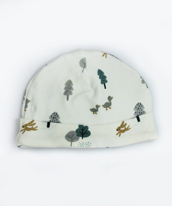 forest theme white baby cap