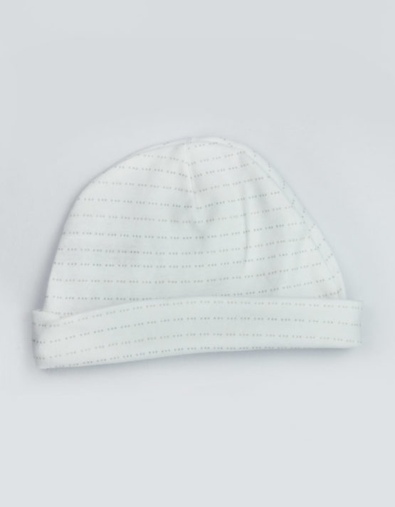 Grey Dotted Line White Baby Cap