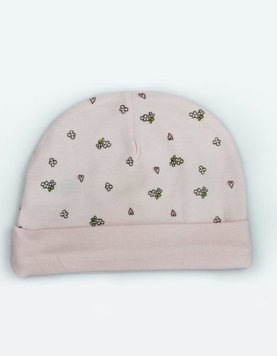 Hearts and Flowers Pink Baby Cap