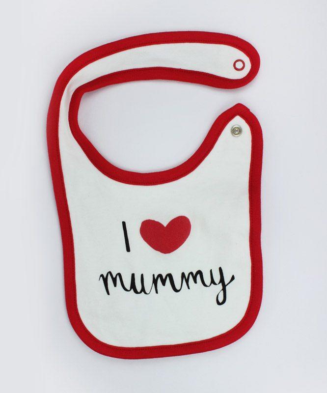 I love mommy White Baby Bib