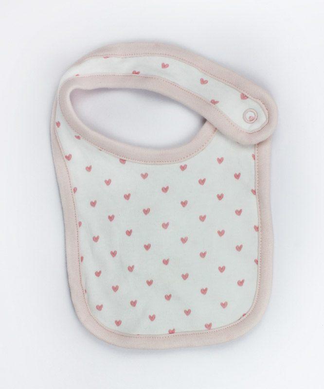Little Pink Hearts White Baby Bib