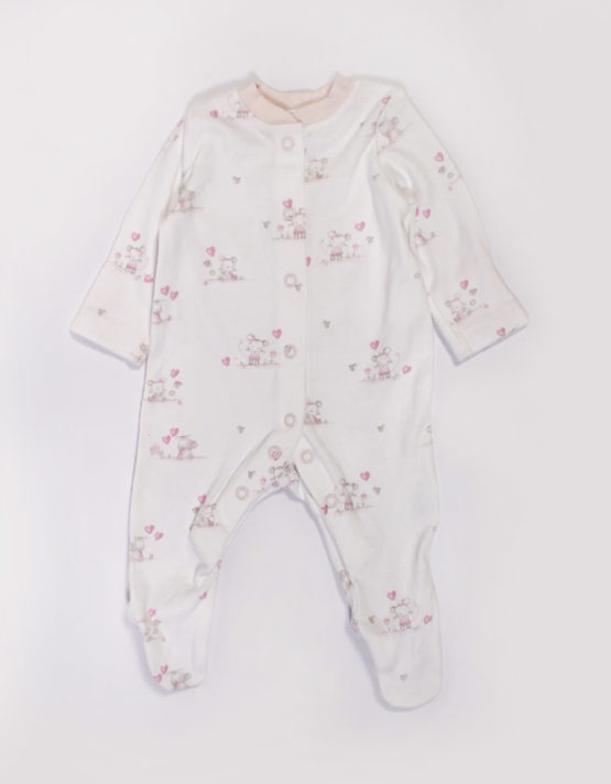 Little Rabbit Printed Pink Baby Jumpsuit