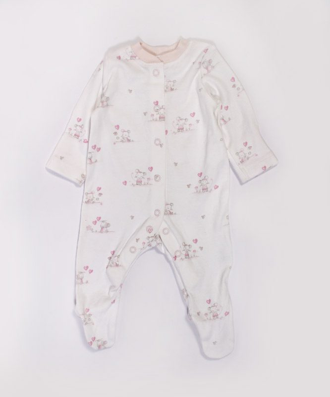 Little Rabbit Printed Pink Baby Jumpsuit