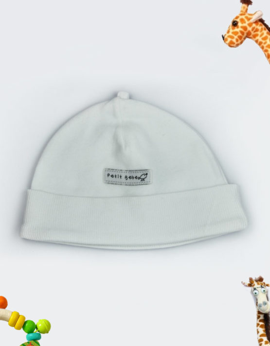 petit babe white baby cap