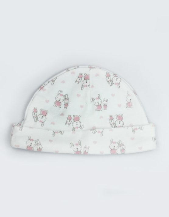 pink bunny white baby cap