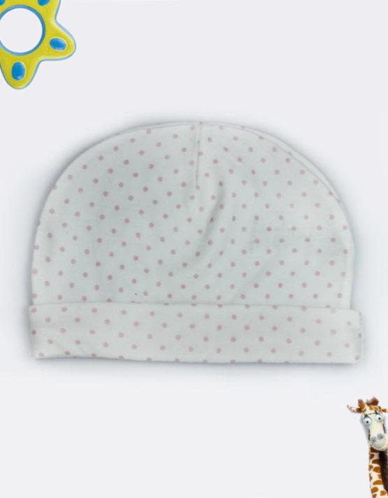 pink dots white baby cap