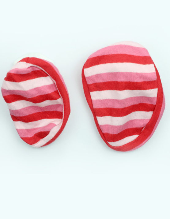 Pink Red and White Strips Baby Booties