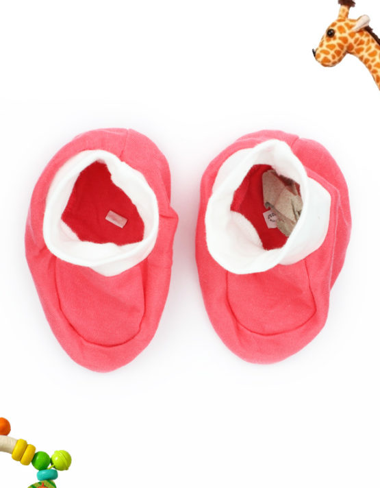 Plain Pink with White Ankels Baby Booties