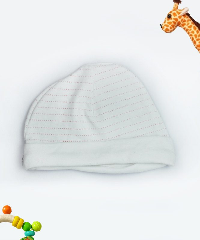 Red Dotted Line White Baby Cap
