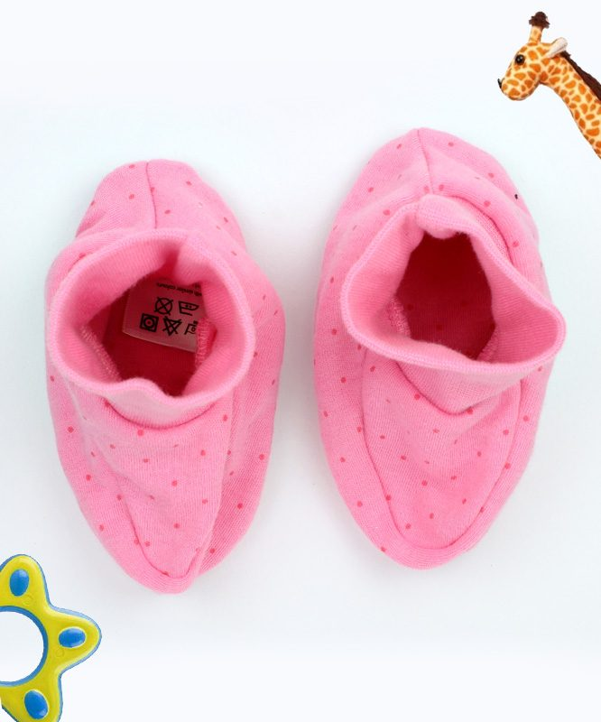 Red Dotted Pink Baby Booties