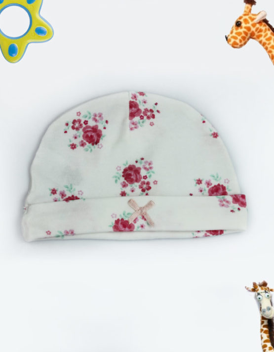 Red Rose Printed Baby Cap