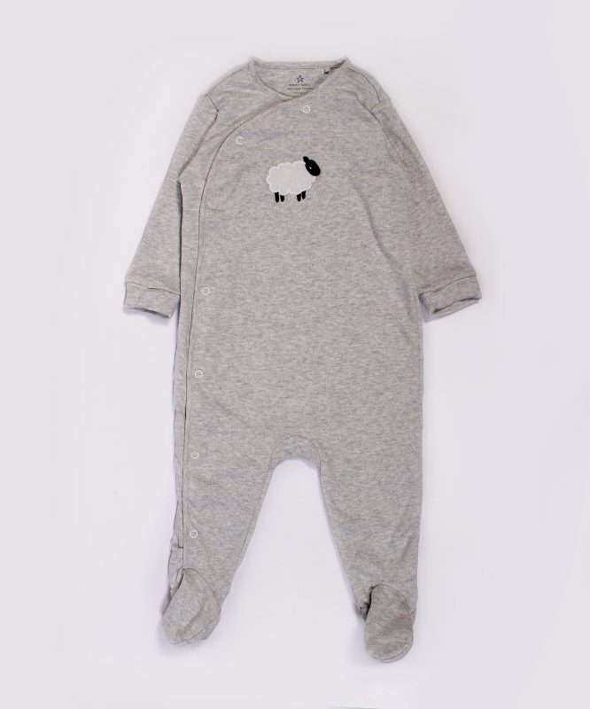 Sheep Embroidery On Grey Jumpsuit