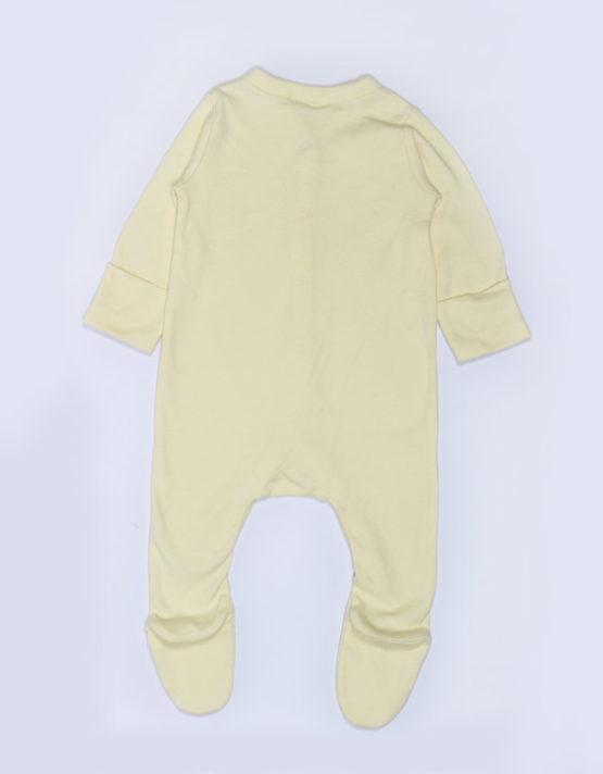Sleepy Bee print on pale yellow baby jumpsuite