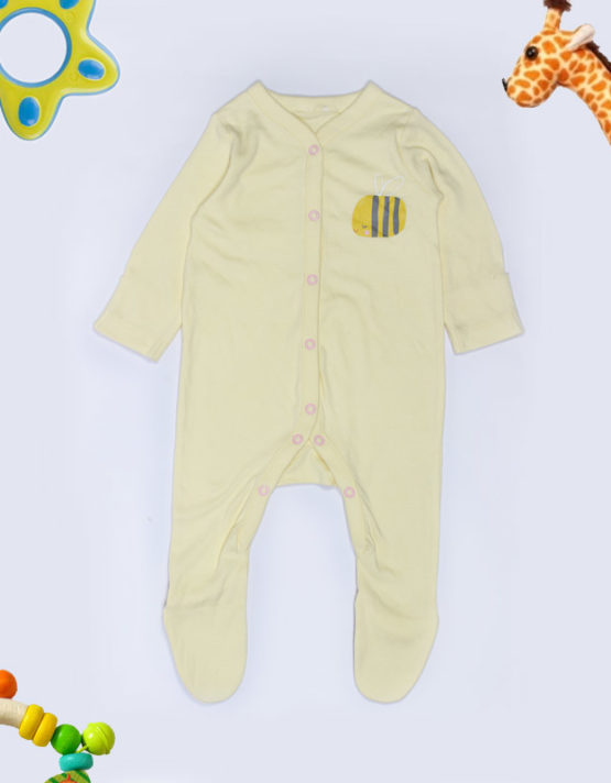 Sleepy Bee print on pale yellow baby jumpsuite