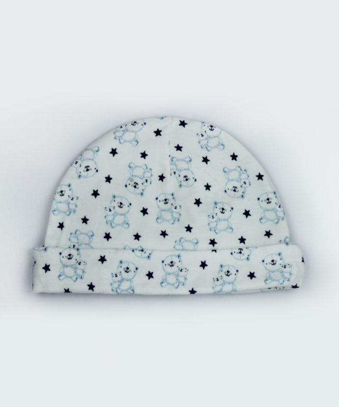 teddy and stars white baby cap