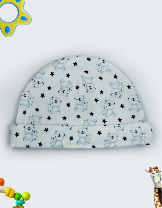 teddy and stars white baby cap