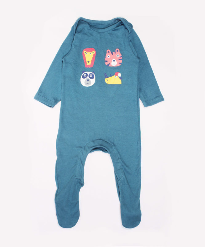 Wild Animals print on blue baby Jumpsuite
