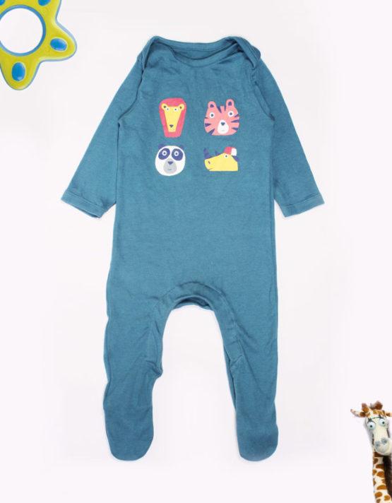 Wild Animals print on blue baby Jumpsuite