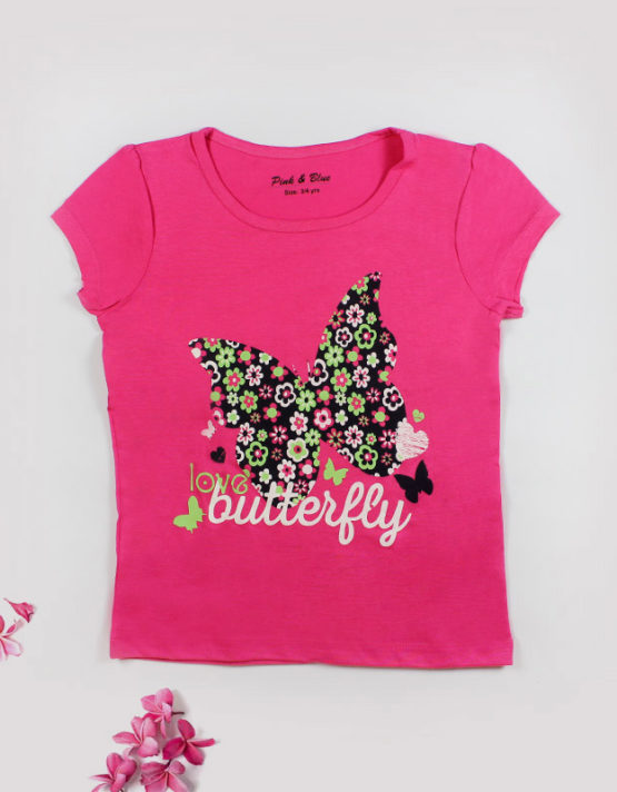 Pink Kids top with butterfly