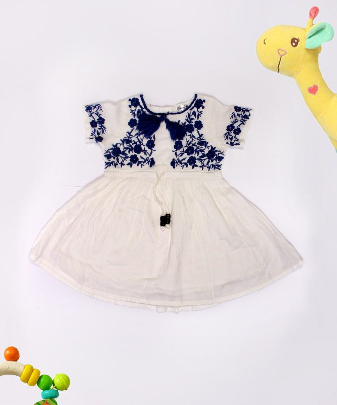 White Kids Frock with Blue Floral Design
