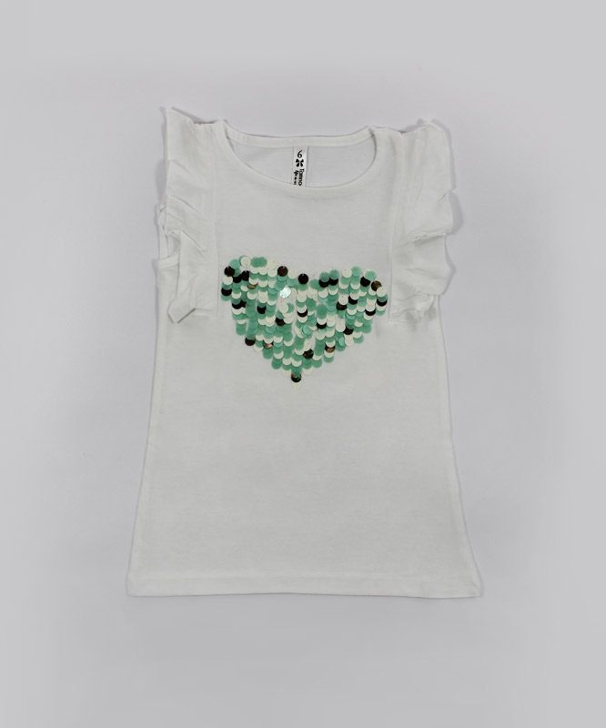 white kids top with dazzling hearts