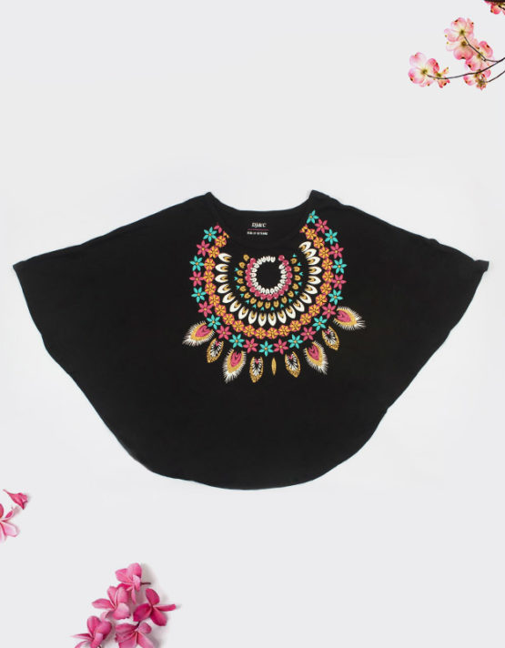 black kids top with colorful print