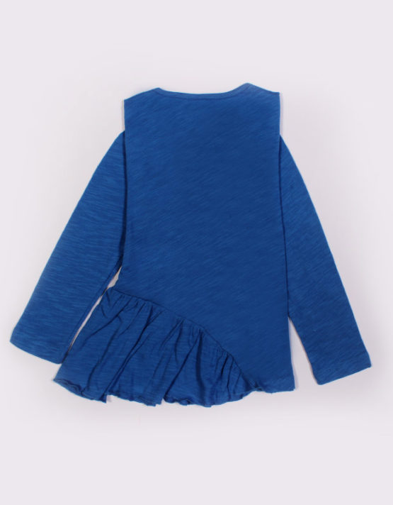blue kids top with orange heart