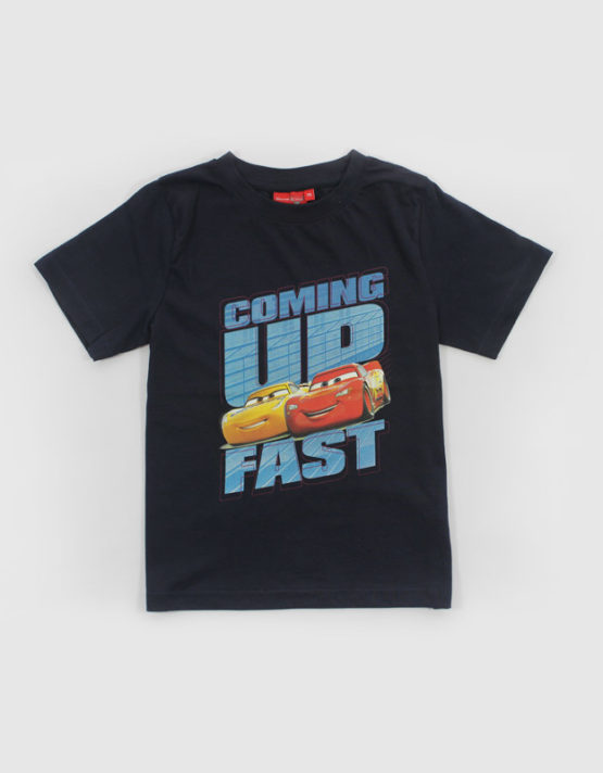 cars coming up fast blue tshirt kids tshirt