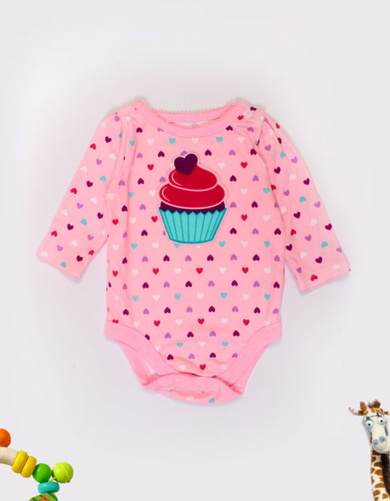 cup cake on pink baby onesies