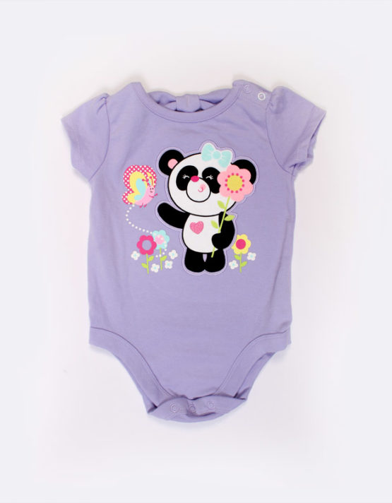 cute panda on a violet baby onesies