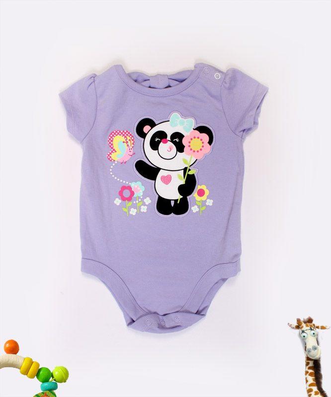 cute panda on a violet baby onesies