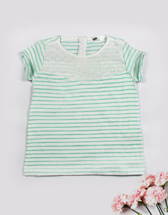 green and white stripes top
