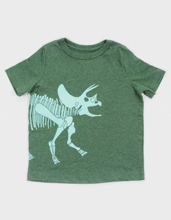 green kids t shirt with dino skeleton