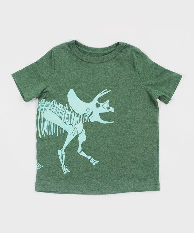 green kids t shirt with dino skeleton