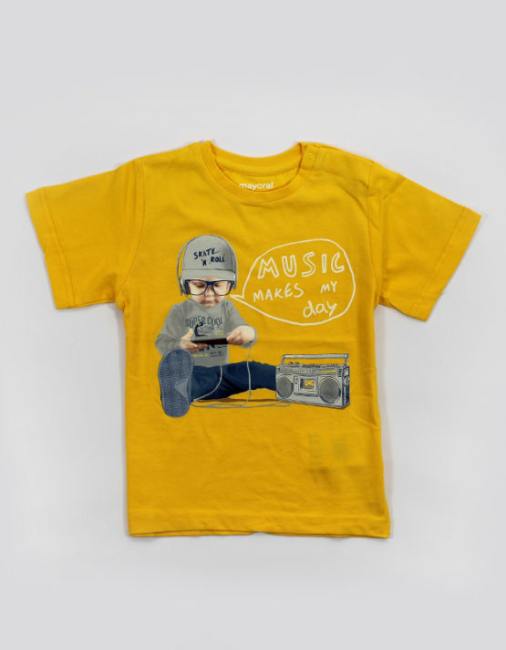 music make my day yellow kids tshirt