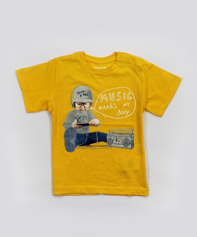 music make my day yellow kids tshirt