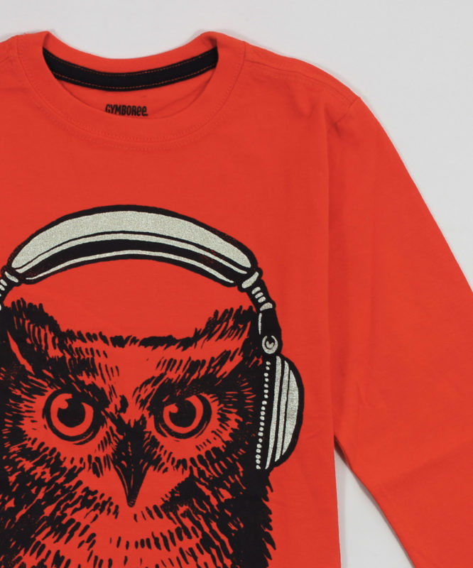 orange kids t shirt with cool owl print