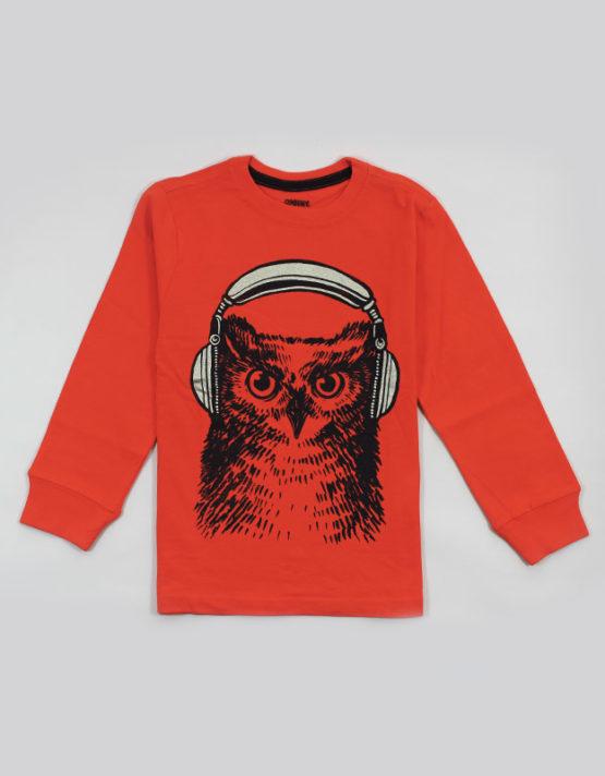 orange kids t shirt with cool owl print
