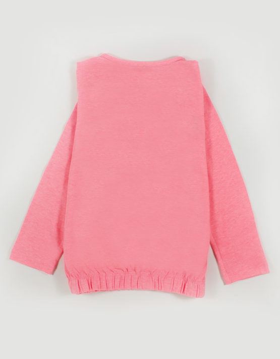 pink glam kids top with floral embroidery