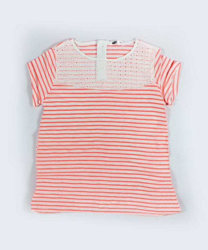 red and white strips kids top