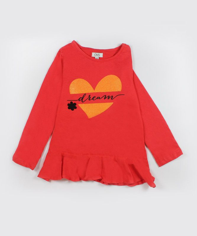 red kids top with orange heart